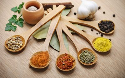 9362660 - various of spices in wooden spoon